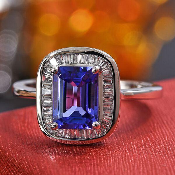 RHAPSODY 1.65 Ct AAAA Tanzanite and Diamond Halo Ring in 950 Platinum 5.90 VS EF