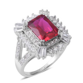 ELANZA Simulated Ruby (Oct), Simulated Diamond Ring (Size L) in Rhodium Overlay Sterling Silver, Silver wt 6.