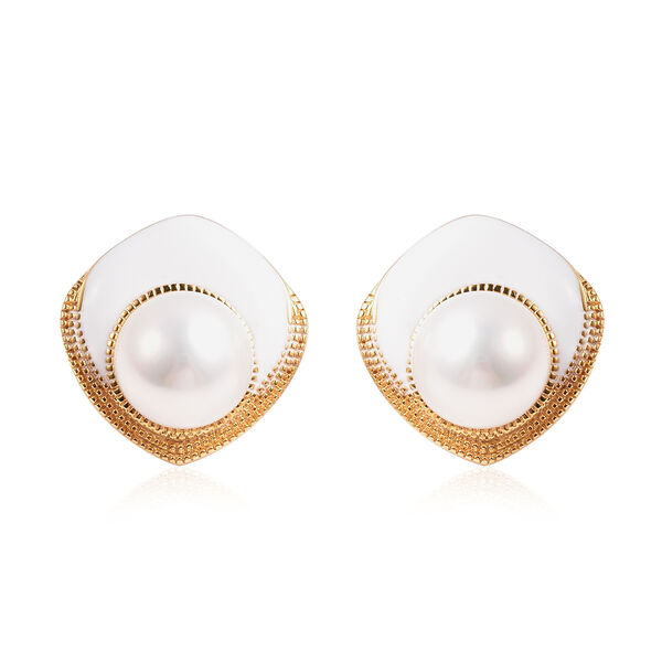 Edison Pearl Stud Earrings (with Push Back) in Yellow Gold Overlay Sterling Silver