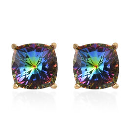 J Franis Crystal from Swarovski Vitrail Medium Crystal Stud Earrings (with Push Back) in 14K Gold Ov