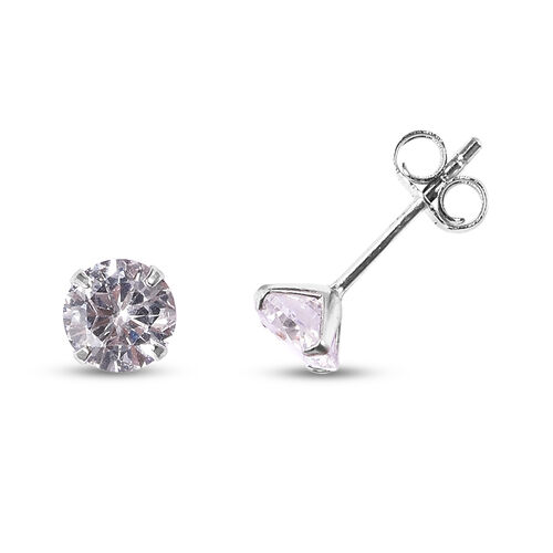 Set of 2 - Simulated Diamond and Anhui Purple Pearl Stud Earrings (with Push Back) in Rhodium Overlay Sterling Silver