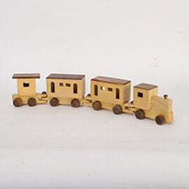 Handmade Wooden Train Toy with 4 Compartments (Size 45.5x4.25x8.25 Cm)