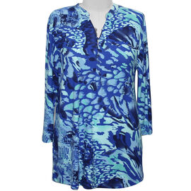 Aura Boutique Supersoft Neck Detail Printed Top in Blue