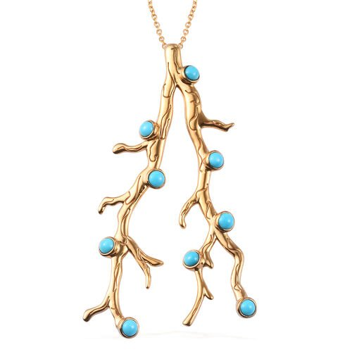 Sundays Child - Arizona Sleeping Beauty Turquoise Pendant with Chain (Size 18) in 14K Gold Overlay S