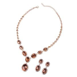 2 Piece Set - Simulated Morganite, White and Peach Austrian Crystal Necklace and Earrings (Size 20 w