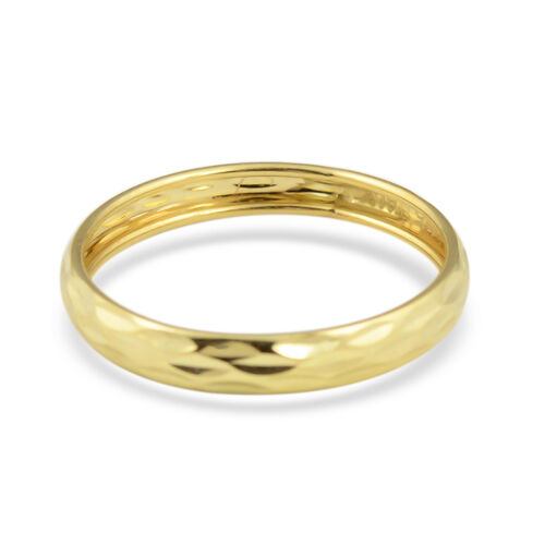 Vicenza Collection - 9K Yellow Gold Diamond Cut Stackable Band Ring