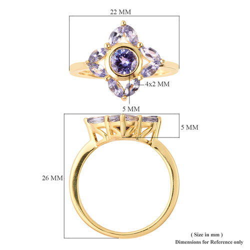 Isabella Liu Floral Collection - Tanzanite Floral Ring in Yellow Gold Overlay Sterling Silver 1.22 Ct.