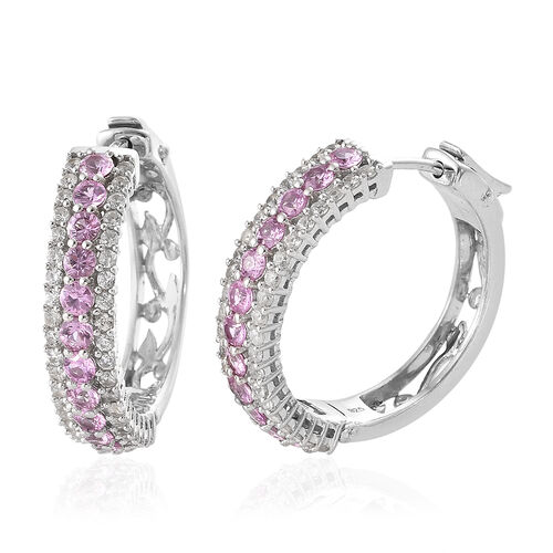 Pink Sapphire (Rnd), Natural Cambodian Zircon Hoop Earrings (with Clasp) in Platinum Overlay Sterlin