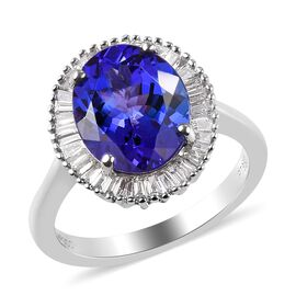 RHAPSODY 950 Platinum AAAA Tanzanite and Diamond (VS/E-F) Ring 4.75 Ct, Platinum wt 5.74 Gms