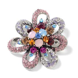 Multi Colour Austrian Crystal (Rnd) Floral Brooch in Silver Plating