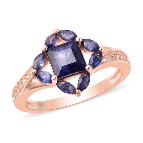 Isabella Liu Floral Collection - AA Masoala Sapphire and Natural Cambodian Zircon Ring in Rose Gold
