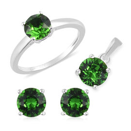 3 Piece Set - J Francis Crystal from Swarovski  Fern Green Crystal Solitaire Ring, Pendant and Earri