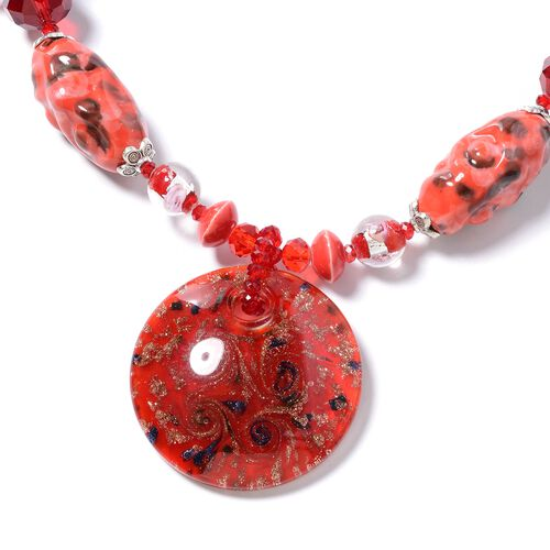 Murano Style Glass, Ceramic, Simulated Ruby, Simulated Grey Moonstone, White Shell and Multi Colour Beads Necklace (Size 28) in Silver Plated