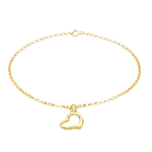 9K Yellow Gold Round Belcher Bracelet (Size 7.5) with Heart Charm.