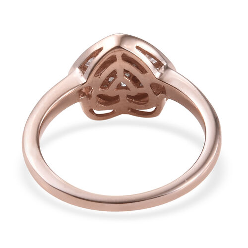 Diamond (Rnd and Bgt) Heart Ring in Rose Gold Overlay Sterling Silver  0.330 Ct.