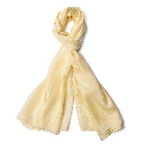 100% Mulberry Silk Cream Colour Scarf (Size 180X100 Cm)