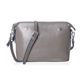 Maddie 100% Genuine Leather Grey Colour Crossbody Bag with Removable Shoulder Strap (Size 24x18x10 C