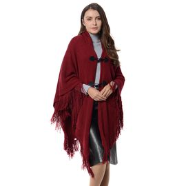 Wine Red Colour Kimono with Tassels Free Size
