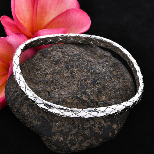 Royal Bali Collection - Sterling Silver Bangle (Size 8), Silver wt 20.00 Gms