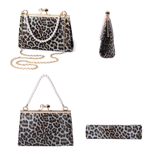 Light Blue Leopard Pattern Clutch Closure Crossbody Bag with Dangling Pearl Chain and Metallic Shoulder Strap in Gold Tone