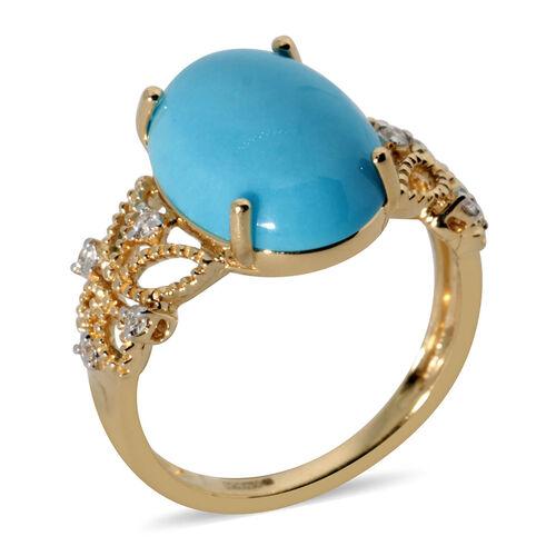ILIANA 4.64 Ct AAA Arizona Sleeping Beauty Turquoise and Diamond Solitaire Ring in 18K Yellow Gold