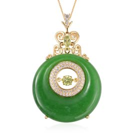 Green Jade, Natural Cambodian White Zircon, Hebei Peridot Pendant with Chain (Size 18) in Vermeil Ye