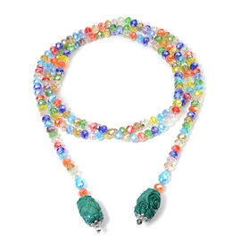 Monster Deal - Green Shell Pearl and Multi Colour Gemstone Necklace (Size 60)