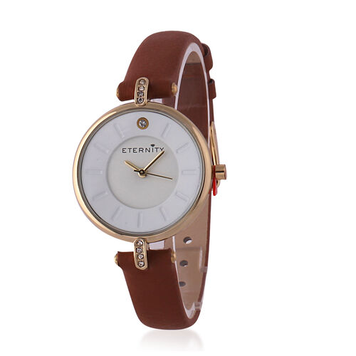 ETERNITY Swarovski Studded Ladies Watch with White Dial and Genuine Leather Tan Strap