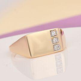 9K Y Gold SGL Certified Diamond (I1/G-H) Signet Ring, Gold wt 3.45 Gms.