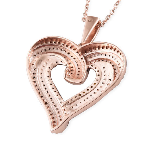 Red Diamond (Rnd), White Diamond Heart Pendant With Chain (Size 18)  in Rose Gold Overlay with  Silver and Black Plating Sterling Silver 1.010 Ct, Silver wt 7.31 Gms,