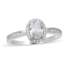 ELANZA Simulated Diamond Ring (Size Q) in Rhodium Overlay Sterling Silver