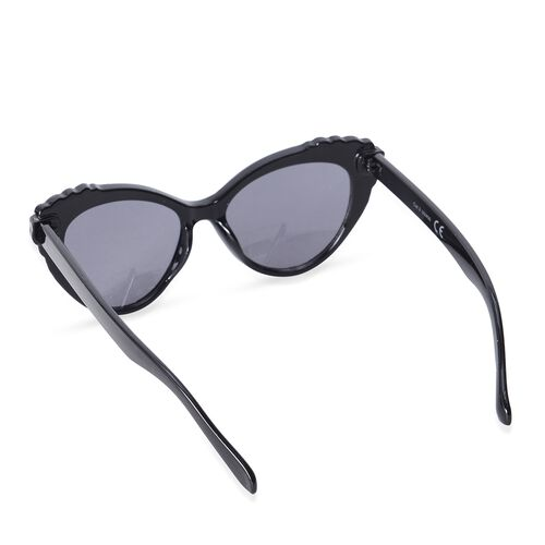 Shiny Black Frame Cats Eye Sunglasses With Simulated Crystals and UV Protection Lenses Including Hard Plastic Black Pouch