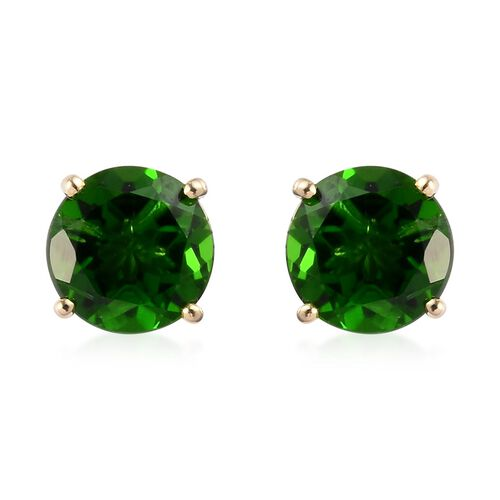 9K Yellow Gold  Russian Diopside Stud Earrings (with Push Back)  2.00 Ct.