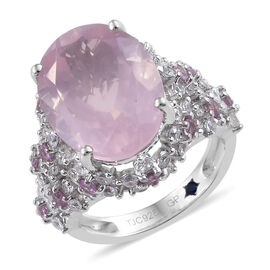 GP 11 Carat Rose Quartz and Pink Sapphire with Multi Gemstones Solitaire Design Ring in Sterling Sil