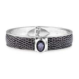 Simulated Smoky Quartz Snake Skin Embossed Faux Leather Bangle (Size 7) in Silver Tone