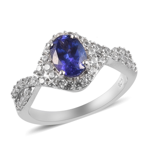 Premium Tanzanite and Natural Cambodian Zircon Ring in Platinum Overlay Sterling Silver 1.66 Ct.