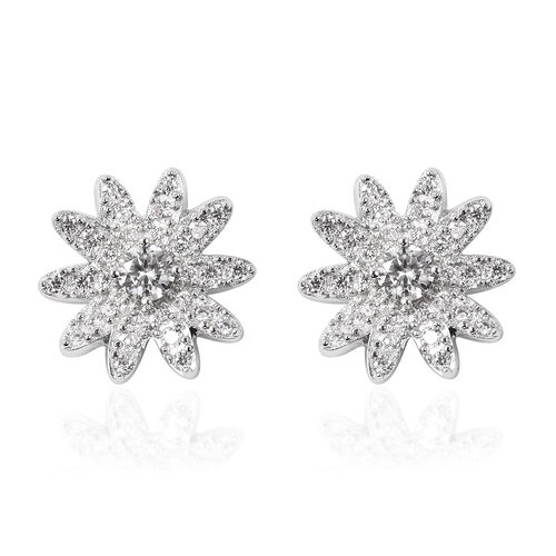 J Francis - Rhodium Overlay Sterling Silver Floral Stud Earrings (with Push Back) Made with SWAROVSK