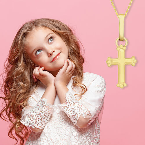 Children Cross Pendant in 9K Yellow Gold