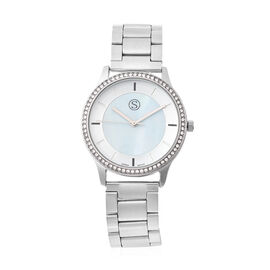 STRADA Japanese Movement White Austrian Studded Water Resistant Watch with Chain Strap in Silver Ton