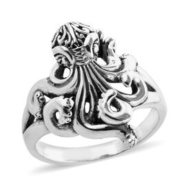 Royal Bali Collection Boi Ploi Black Spinel (Rnd) Octopus Ring in Sterling Silver 0.300 Ct, Silver w
