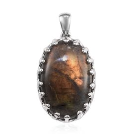 100% Natural Bokonaky Fire Labradorite (Ovl 25x16 mm) Solitaire Pendant in Platinum Overlay Sterling