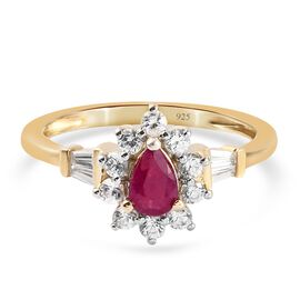 Burmese Ruby and Natural Cambodian Zircon Ring in 14K Gold Overlay Sterling Silver 1.18 Ct.