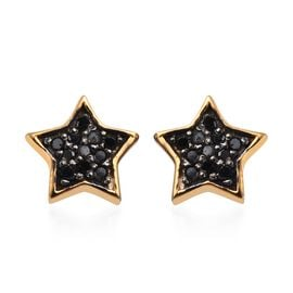 Black Diamond (Rnd) Star Stud Earrings (with Push Back) in 14K Gold Overlay Sterling Silver 0.100 Ct