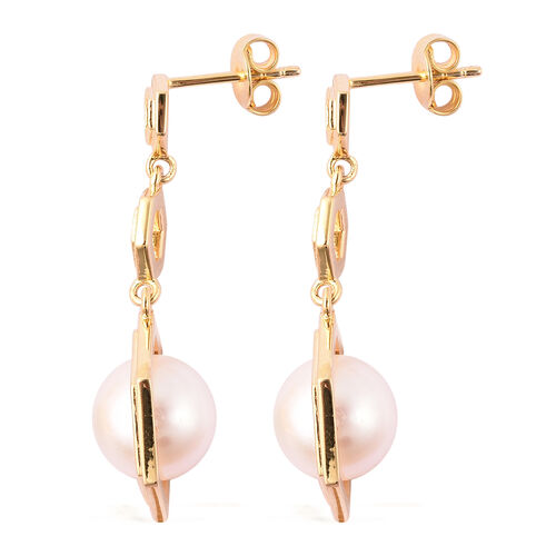 Edison Pearl Dangle Earrings in Yellow Gold Overlay Sterling Silver