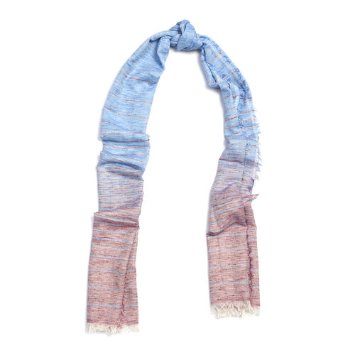 Blue and Plum Colour Scarf (Size 190x70 Cm)