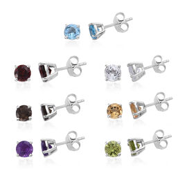 Set of 7 -  Mozambique Garnet (Rnd), Multi Gemstone Stud Earrings (with Push Back) in Platinum Overl