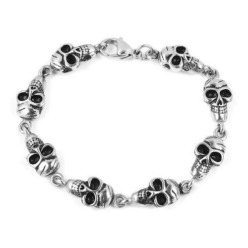 Black Oxidised With Enameling Stainless Steel Skull Link Bracelet (Size 8.5 and 1 inch Extender)