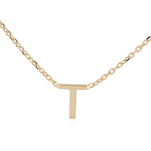 Hatton Garden Close Out - 9K Yellow Gold Initial T Necklace (Size 15 with 2 Inch Extender)
