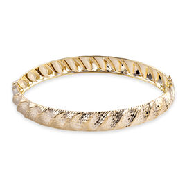 Royal Bali Collection 9K Yellow Diamond Cut Gold Bangle Large (Size 7.75), Gold wt 5.75 Gms