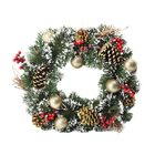 Christmas Wreath With Snow Flocking Trimmed With Glitter Powder Gold Baubles, Red Berries and Gold G